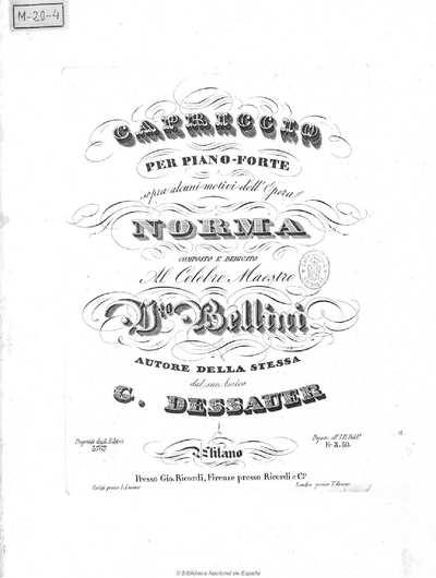 Capriccio per piano forte sopra alcuni motivi dell'opéra Norma [Música notada]