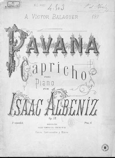 Pavana-capricho [Música notada] :]para piano, op. 12