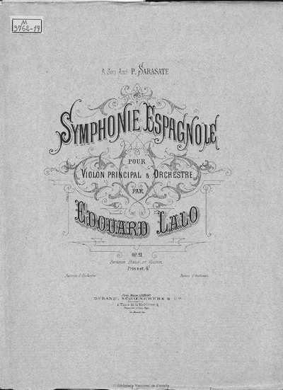 Symphonie espagnole [Música notada] : pour violon principal & orchestre