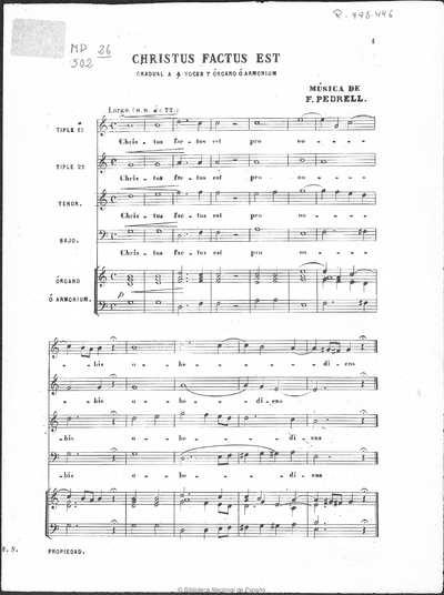 Christus factus est [Música notada] :]gradual a cuatro voces y órgano o armonium