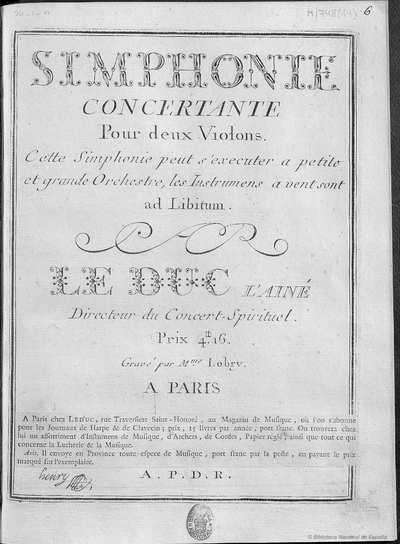 Simphonie concertante pour deux violons ...  [Música notada]