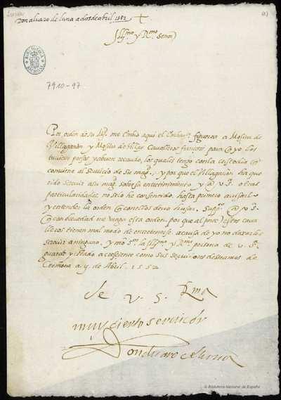 Cartas de Álvaro de Luna al Cardenal Granvela