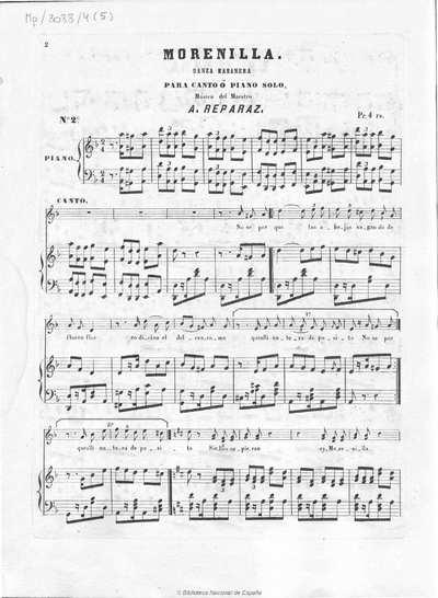 Morenilla [Música notada] :]danza habanera para canto ó piano solo