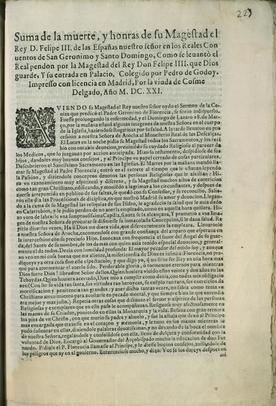 Suma de la muerte, y honras de su Magestad el Rey D. Felipe III ... en los reales conuentos de San Geronimo y Santo Domingo, como se leuantò ...