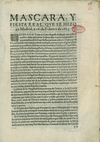 Mascara, y fiesta real que se hizo en Madrid, a 26 de febrero de 1623