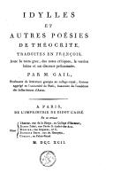 Idylles et autres poésies de Théocrite