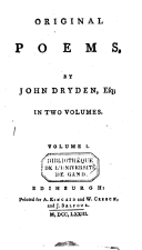 Original poems by John Dryden, Esq