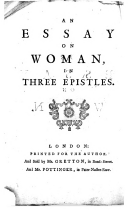 An essay on woman, in three epistels