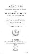 Mémoires historiques, politiques et littéraires sur le royaume de Naples