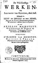 De vol-geestige werken van Salomon van Rusting ..