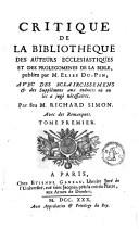 Critique de la bibliothèque des auteurs ecclésiastiques et des prolegomènes de la bible