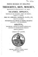 Poetae bucolici et didactici Theocritus, Bion, Moschus