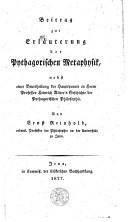 Beitrag zur Erläuterung der pythagorischen Metaphysik