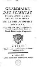 Grammaire des sciences philosophiques ou analyse abrégée de la philosophie moderne