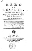 Héro et Léandre, poëme de Musée on y a joint la traduction de plusieurs idylles de Théocrite