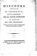 Discours prononcé le 2 pluviôsean VII, jour de l'anniversaire de la juste punition du dernieu roi des français