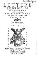 Lettere amorose di M. Girolamo Parabosco, con alcune altre di nuovo aggiunte nella fine