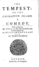 The Tempest or The Enchanted Island a comedy