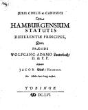 Juris civilis ac canonici cum Hamburgensium statutis differentiae principes