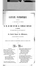 Cantate patriotique, composée à l'occasion du séjour de S. M. le Roi et de la famille Royale à Gand, et exécutée en leur présence par la Société royale des mélomanes, au Grand théatre, le 31 aout 1853