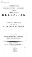 Philetae coi, Hermesianactis colophonii atque phanoclis Reliquiae