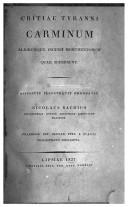 Critiae tyranni Carminum aliorumque ingenii monumentorum quae supersunt