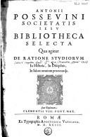 Bibliotheca selecta qua agitur de ratione studiorum in historia, in disciplinis, in salute omnium procuranda