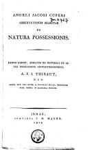 Angeli Jacobi Cuperi observationes selectae de natura possessionis