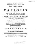 Dissertatio medica inauguralis De variolis