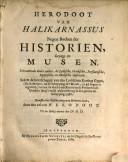 Herodoot van Halikarnassus. Negen boeken der Historien, gezegt de Musen vervattende onder ander, de Lydische, Grieksche, Persiaensche, Egiptische, en Medische Historien ..