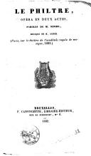 Le Philtre opéra en deux actes