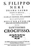 S. Philippo Neri drama sacro ... in musica