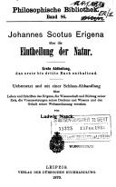 Johannes Scotus Erigena über die Eintheilung der Natur