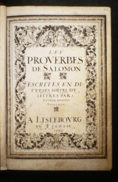 Les proverbes de Salomon.