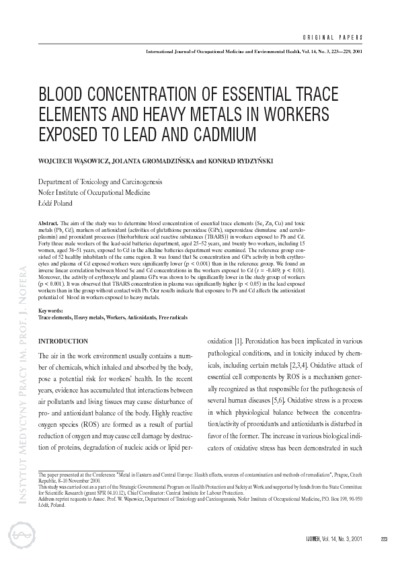 Blood concentration of essential trace elements and heavy metals in workers exposed to lead and cadmium