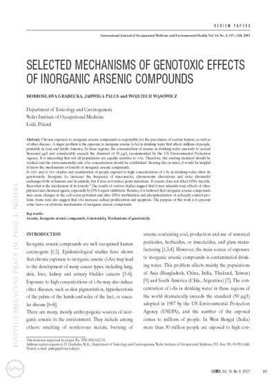 Selected mechanisms of genotoxic effects of inorganic arsenic compounds