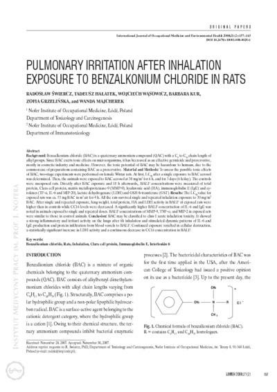 Pulmonary irritation after inhalation exposure to benzalkonium chloride in rats