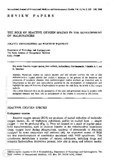 The role of reactive oxygen species in the development of malignancies