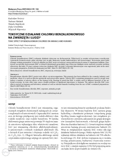Toxic effect of benzalkonium chloride on animals and humans