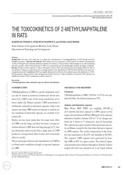 The toxicokinetics of 2-methylnaphtalene in rats
