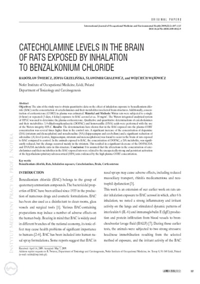 Catecholamine levels in the brain of rats exposed by inhalation to benzalkonium chloride