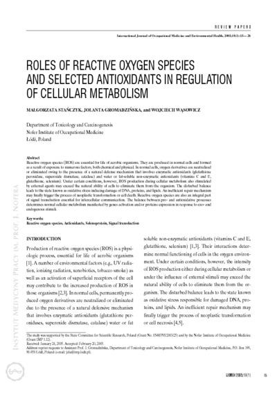 Roles of reactive oxygen species and selected antioxidants in regulation of cellular metabolism