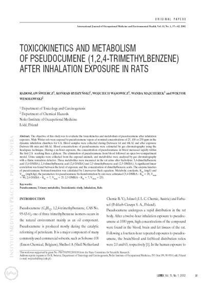 Toxicokinetics and metabolism of pseudocumene (1,2,4-trimethylbenzene) after inhalation exposure in rats