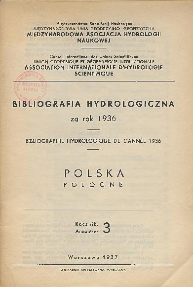 Bibliografia Hydrologiczna za rok 1936. Polska, Rocznik 3