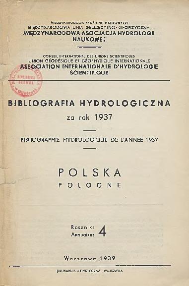 Bibliografia Hydrologiczna za rok 1937. Polska, Rocznik 4