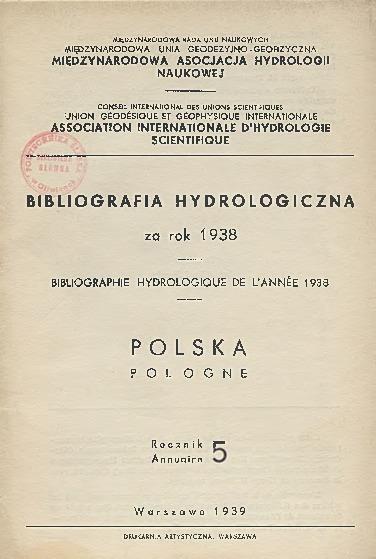 Bibliografia Hydrologiczna za rok 1938. Polska, Rocznik 5