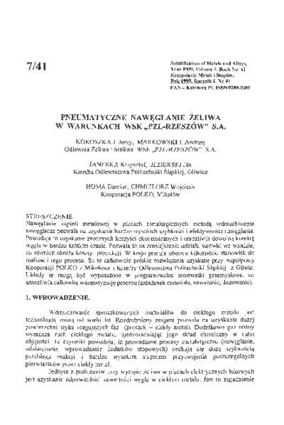 """Pneumatyczne nawęglanie żeliwa w warunkach WSK """"PZL-Rzeszów"""" S.A."""