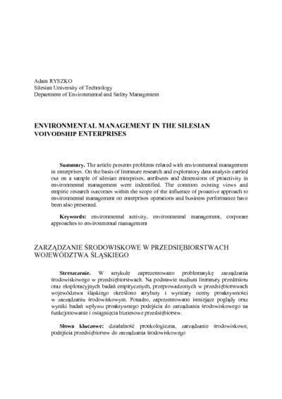 Environmental management in the Silesian voivodship enterprises