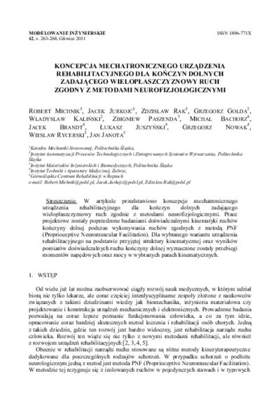 Koncepcja mechatronicznego urządzenia rehabilitacyjnego dla kończyn dolnych zadającego wielopłaszczyznowy ruch zgodny z metodami neurofizjologicznymi