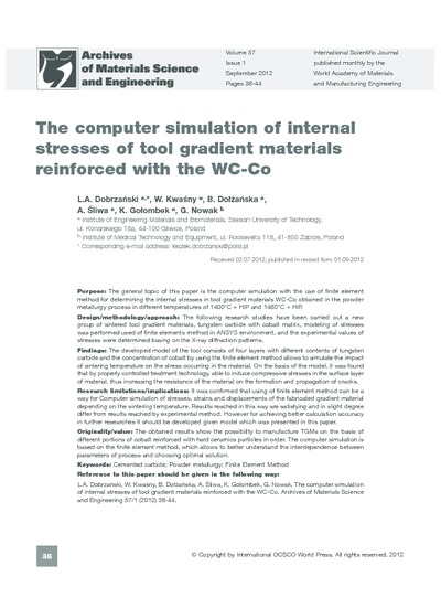 The computer simulation of internal stresses of tool gradient materials reinforced with the WC-Co